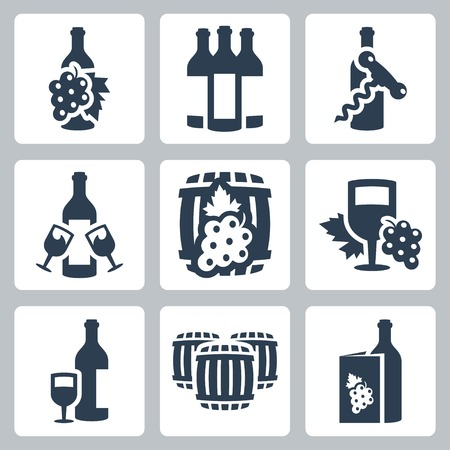 Vector winery icons set Vector