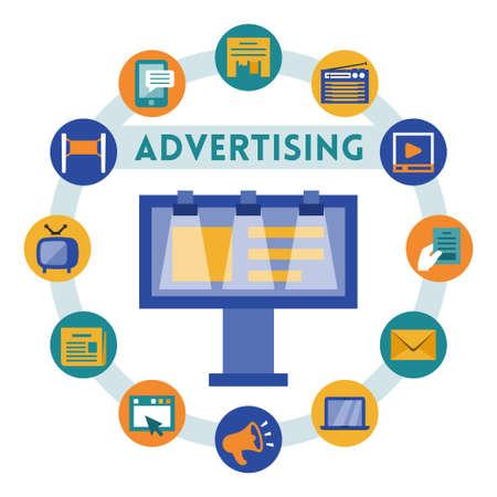 advertiser: Pubblicit� vettoriale connessi infografica, stile piatto Vettoriali