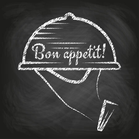 Bon appetit concept - hand carrying a tray with a food dome, chalkboard background