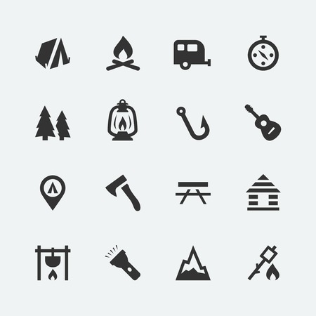Camping related vector icons set