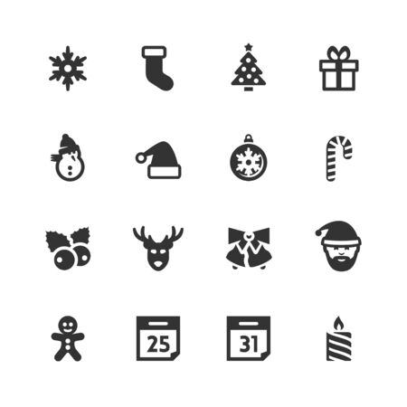 christmas hat: Christmas and New Year related vector icons set