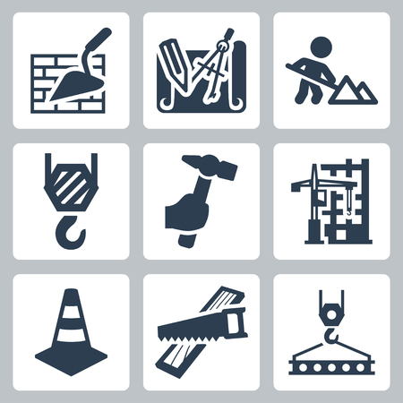 men at work sign: Construction related vector icons set Illustration
