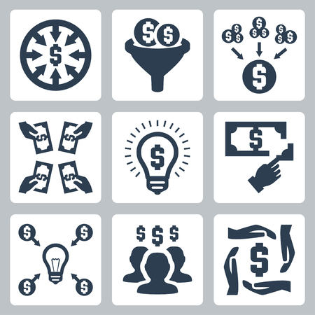 crowd sourcing: Crowdfunding and investing vector icons set Illustration