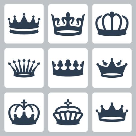 corona rey: Coronas iconos conjunto de vectores