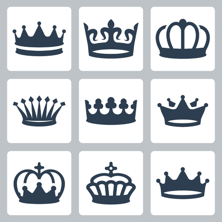 crown king: Crowns vector icons set