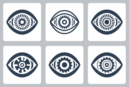 Cyber eyes vector icons set Vector