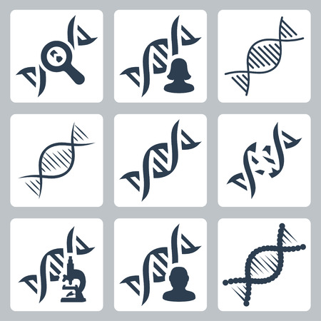 DNA related vector icons set Illustration