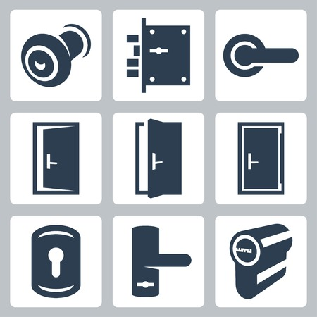 door: Door and accessory equipment vetor icons set