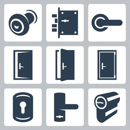 puerta: Iconos Puerta y equipos accesorios vetor establecen