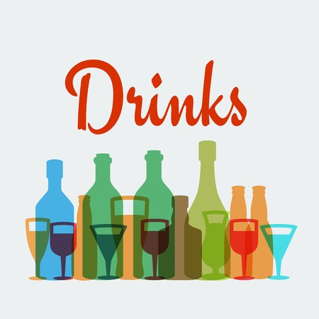 drinking alcohol: Alcohol drinks vector poster
