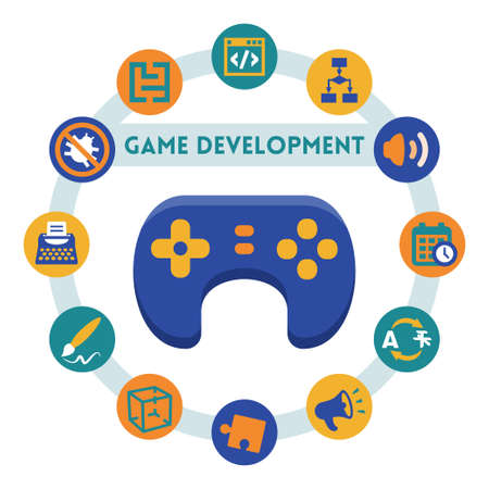 dev: Game development related vector infographic, flat style