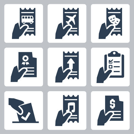 ticket icon: Hand and document vector icon set