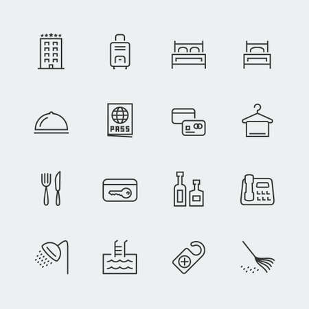 hotel building: Hotel related vector icons set, thin line Illustration