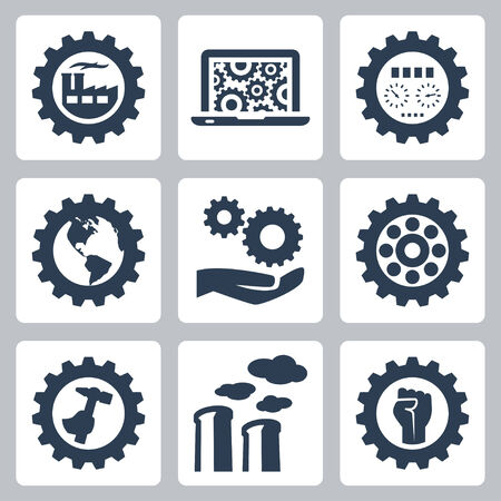 Industrial related vector icons set Vector