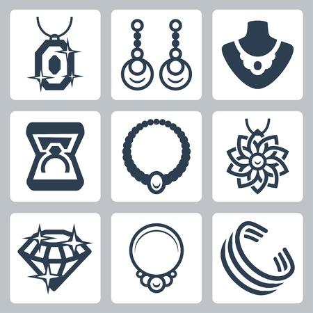Joyas iconos relacionados con el conjunto de vectores Ilustración de vector