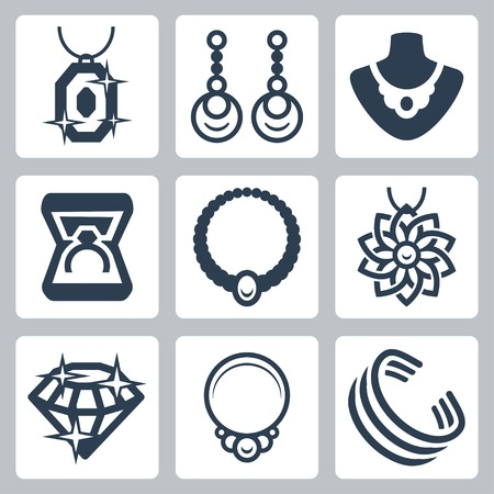 Schmuck bezogene Vektor-Icons gesetzt