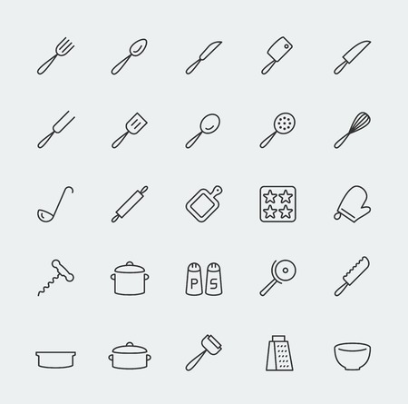 Kitchen utensils vector icons set, line style