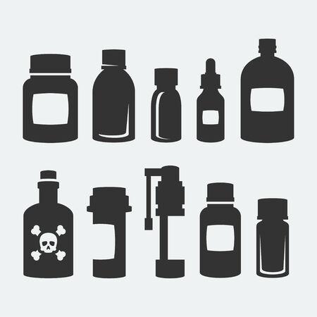 s�mbolo de la medicina: Medicina iconos botellas conjunto de vectores Vectores