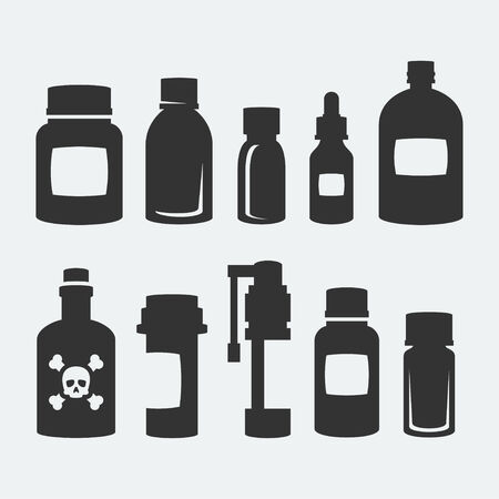medicine icon: Medicine bottles vector icons set