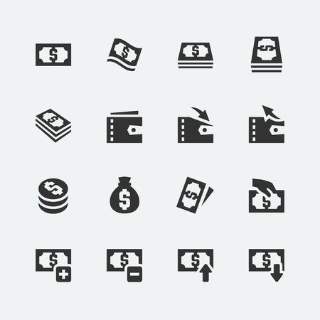 cash money: Dinero iconos relacionados con el conjunto de vectores Vectores