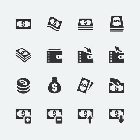 hand with a bag of money: Money related vector icons set