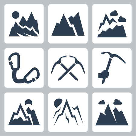 ice climbing: Mountains and mountaineering vector icons set