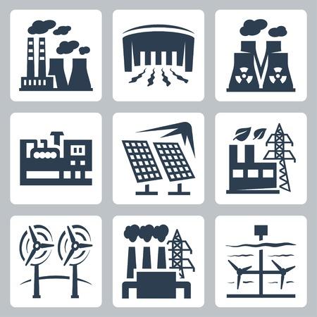 Energiecentrales vector pictogrammen instellen: thermische, waterkracht, kernenergie, diesel, zonne-energie, eco, wind, aardwarmte, getijdenenergie