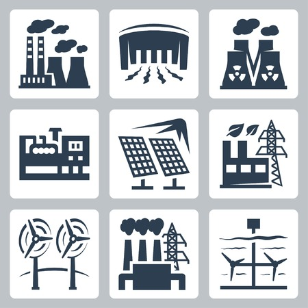 Power plants vector icons set: thermal, hydro, nuclear, diesel, solar, eco, wind, geothermal, tidal Illustration