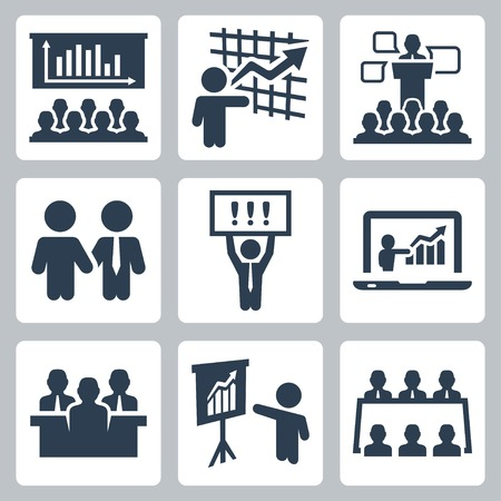 conference speaker: Business people related vector icons set