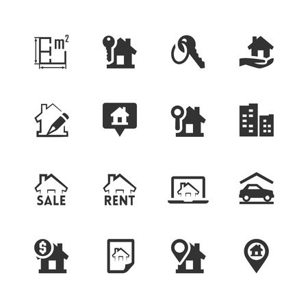 Real estate related vector icons set