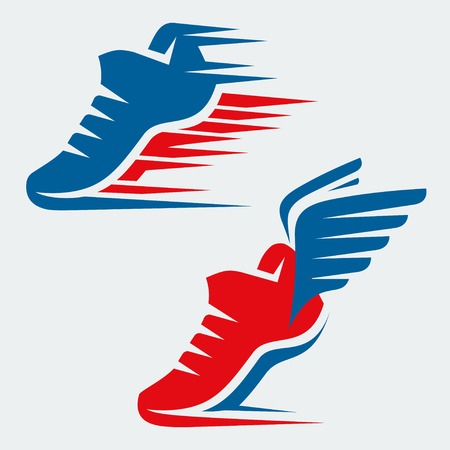 Running shoes with speed and motion trails and with wings Vector