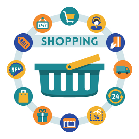 phone card: Shopping related vector infographic, flat style