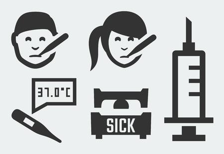 ragazza malata: Malattia relative icone vettoriali Vettoriali
