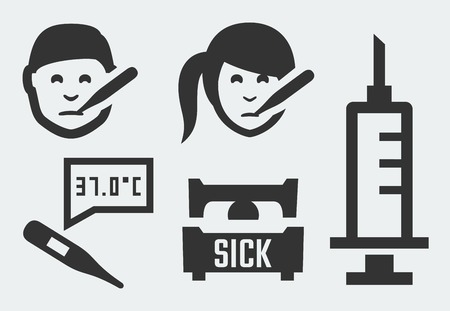 sick person: Sickness related vector icons set Illustration