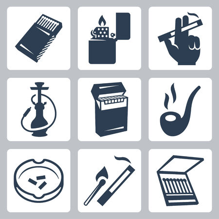 ashtray: Smoking related vector icons set