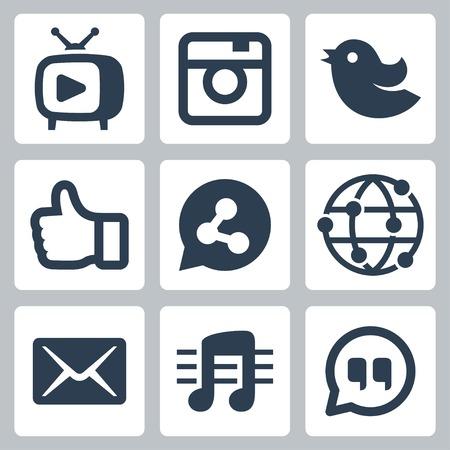 Set van het sociale netwerk pictogrammen Stock Illustratie