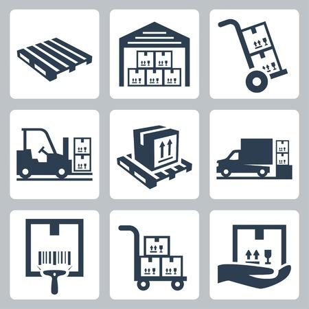 Warehouse gerelateerde vector iconen set