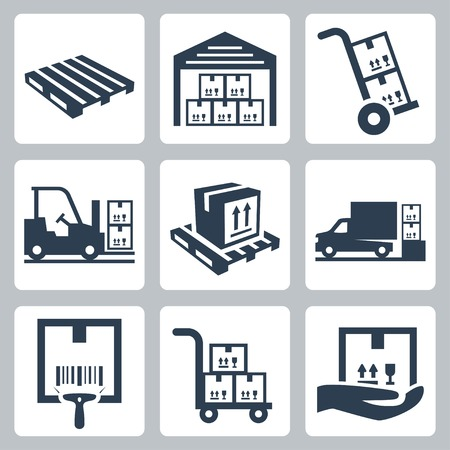 Warehouse related vector icons set Vector