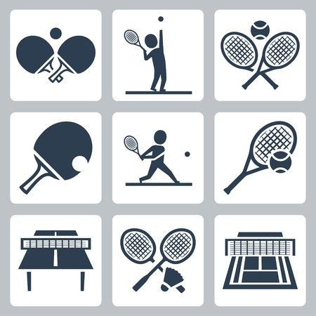 table set: Court tennis,table tennis and badminton related vector icons set