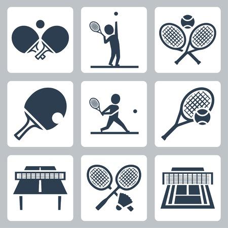 tennis racket: Pista de tenis, tenis de mesa y bádminton relacionadas iconos conjunto de vectores