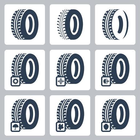 haltbarkeit: Reifen verwandte vektorikonen eingestellt Illustration