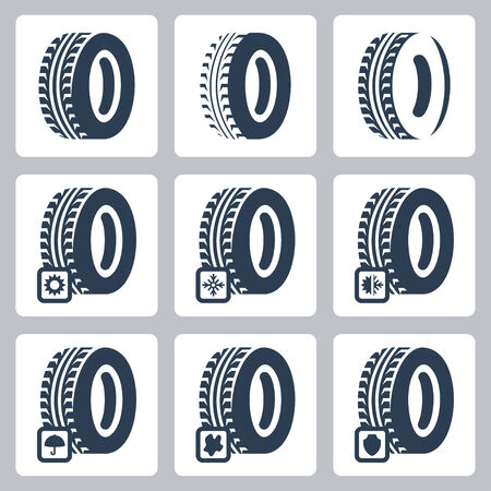 snow tires: Tires related vector icons set
