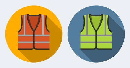Orange and green safety vests icons, flat style Vettoriali