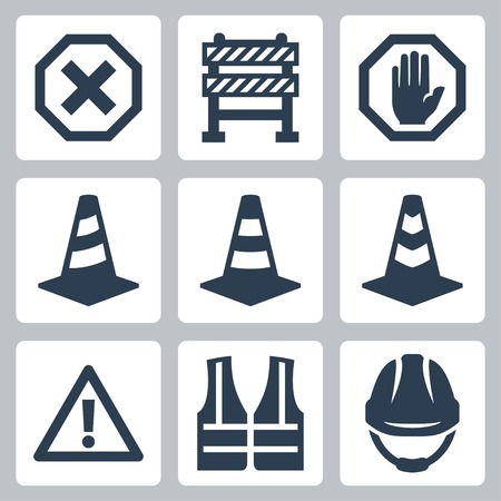 Warning and job safety related vector icons set Ilustrace