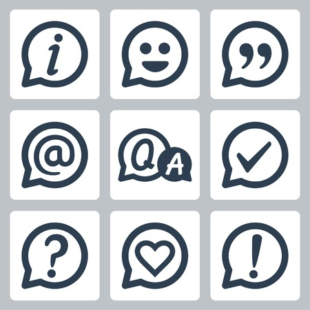 Symbols in speech bubbles vector icon set: info, smile, quotation, e-mail, FAQ, checkmark, question mark, heart, exclamation mark Illustration