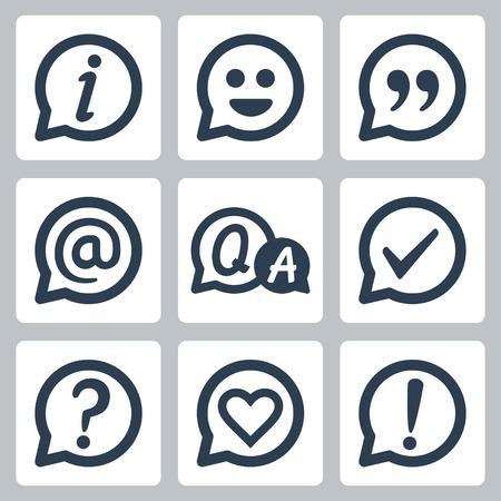 Symbols in speech bubbles vector icon set: info, smile, quotation, e-mail, FAQ, checkmark, question mark, heart, exclamation mark Vector