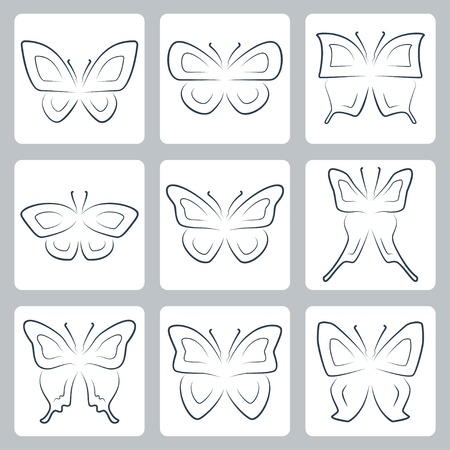 goliath: Vector isolated butterflies icons set, thin line or outline style