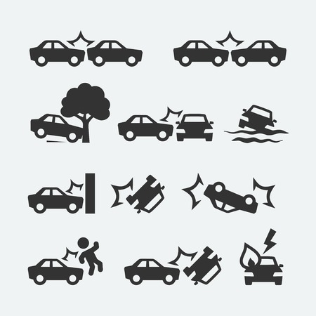 Car crash related icon set Vettoriali