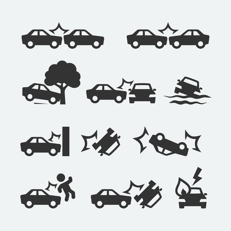 Wypadek samochodowy zestaw ikon związanych