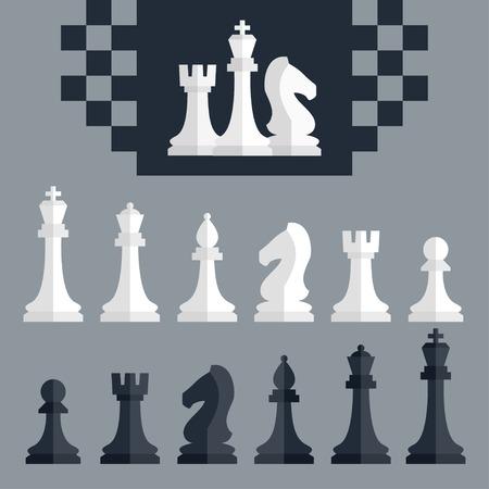caballo de ajedrez: Piezas de ajedrez Vector iconos conjunto, de estilo plana